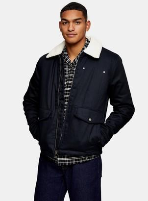Topman Navy Harrington Borg Jacket