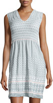 Max Studio Smocked Jacquard Sleeveless Dress, Chalk/Pink Sphere
