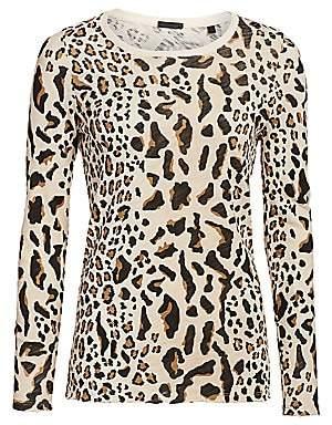 ATM Anthony Thomas Melillo Women's Mixed Leopard Long-Sleeve Tee