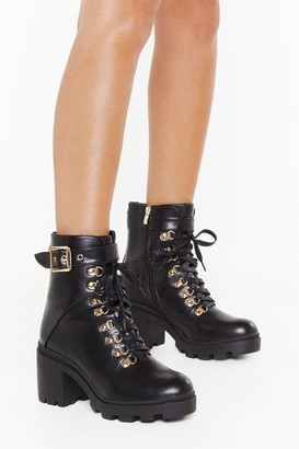 Nasty Gal Womens See You Lace-Up Block Heel Boots - Black