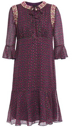 Anna Sui Embellished Metallic Floral-print Fil Coupe Chiffon Dress