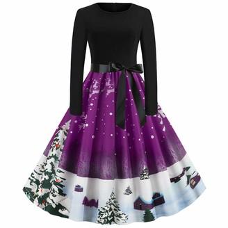 777 Women's Christmas Dress 1950s Retro Long Sleeve Round Neck Pleated Swing Rockabilly Santa Print Cute High Waist Elegance Cocktail Party Dress