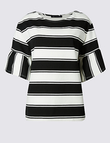 M&S Collection PLUS Striped Flared Sleeve T-Shirt