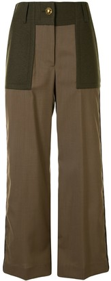 Sacai High-Waisted Wide Leg Trousers