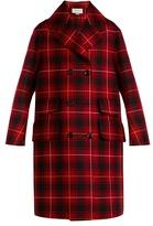 Gucci Spaniel-appliqué tartan wool coat