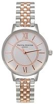 Olivia Burton OB15WD40 Women's Wonderland Bracelet Strap Watch, Silver/Rose Gold