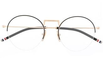 Thom Browne Eyewear Half-Rim Round-Frame Glasses