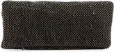 Neiman Marcus Mesh Crystal Fold-Over Clutch Bag, Black