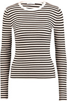 A.L.C. Harmon striped ribbed merino wool-blend top