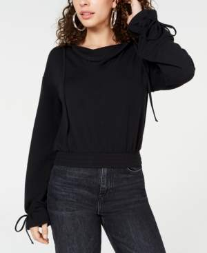 Material Girl Juniors' Tie-Cuff Cropped Hoodie, Created for Macy's