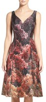 Adrianna Papell Graphic Mikado Fit & Flare Dress