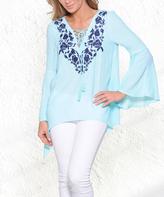 Paparazzi Aqua & Navy Embroidery Lace-Up Sidetail Tunic