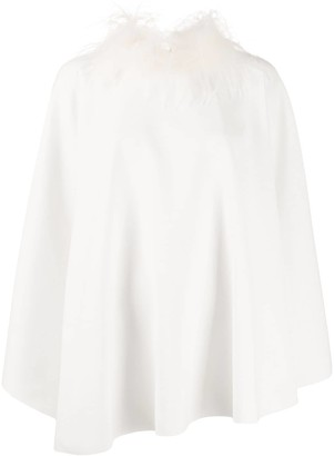 Styland Feather Collar Blouse