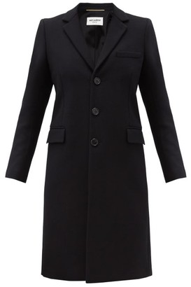 Saint Laurent Chesterfield Single-breasted Wool Coat - Black