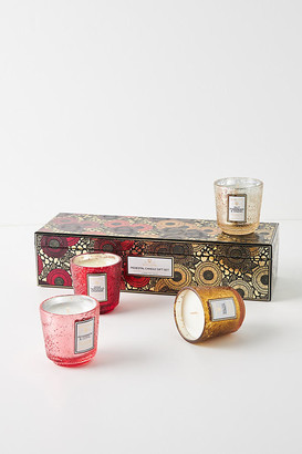Voluspa Pedestal Candle Gift Set By in Red