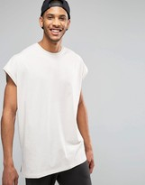 Asos Super Oversized Sleeveless T-Shirt With Split Hem And Step