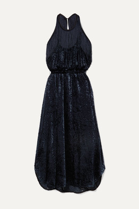 By Malene Birger Modena Cutout Fringed Devore-velvet Halterneck Dress - Navy