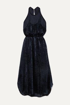 By Malene Birger Modena Cutout Fringed Devore-velvet Halterneck Dress - Navy