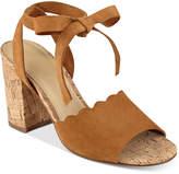 Marc Fisher Piya Lace-Up Cork Block-Heel Sandals