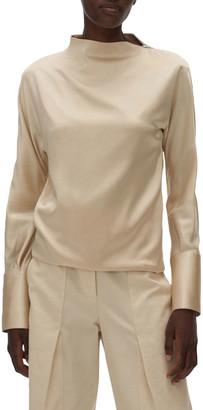 Helmut Lang Silk Long-Sleeve Top with Zipper