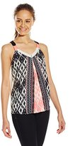 Jolt Women's Mix Color Printed Woven Front Knit Back Swing Tank