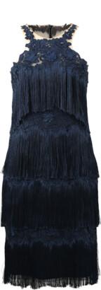 Marchesa Notte Fringe Cocktail Dress