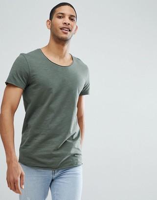 Jack and Jones Essentials scoop neck longline t-shirt in light green