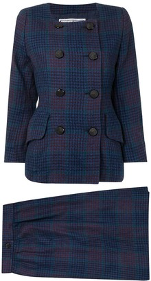 Yves Saint Laurent Pre Owned Plaid Double-Breasted Skirt Suit