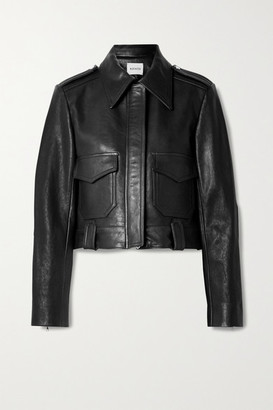 KHAITE Cordelia Cropped Leather Jacket - Black