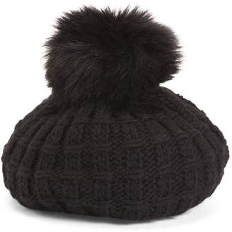 Chunky Knit Beret With Faux Fur Pom