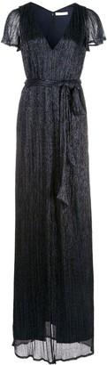 Halston V-neck front split dress