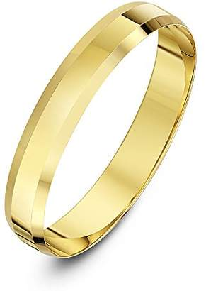 Theia Unisex 9ct Yellow Gold Heavy Flat Shape Bevelled Edge Polished 4mm Wedding Ring - Size S