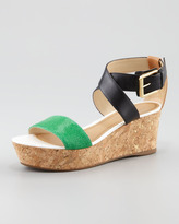 Juicy Couture Forrest Cork Wedge Sandal, Green