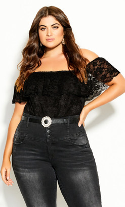 City Chic Miss Lace Bodysuit - black