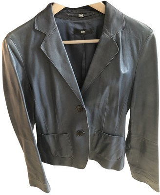 HUGO BOSS Blue Leather Leather Jacket for Women