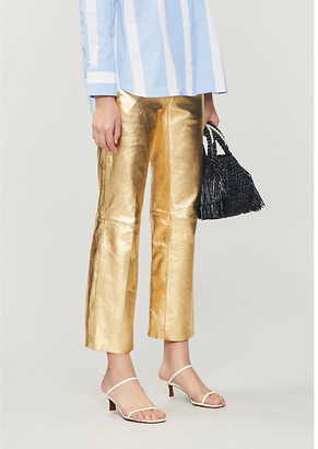 Sandro Slim-fit metallic leather trousers
