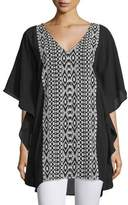Tolani Juliana V-Neck Embroidered Caftan, Onyx
