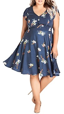 City Chic Plus Sweet Spot Floral Print Fit-and-Flare Dress