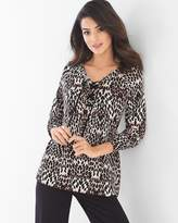 Soma Intimates French Terry Lace Up Sweatshirt Mirrored Cat Deep Taupe
