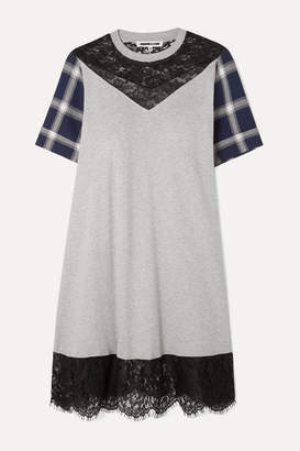 McQ Paneled Cotton-jersey, Checked Flannel And Lace Mini Dress - Gray