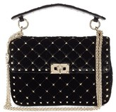 Valentino Rockstud Spike Velvet Shoulder Bag - Black