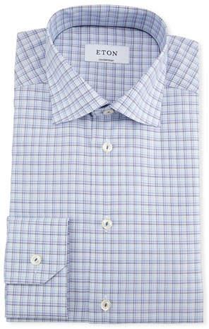 Eton Men's Contemporary Fit Multi-Check Dress Shirt