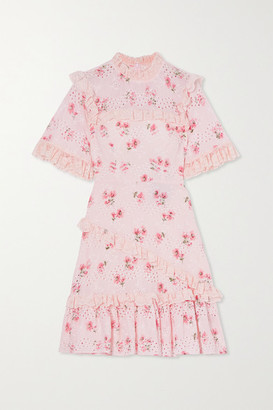 Needle & Thread Desert Rose Ruffled Floral-print Broderie Anglaise Cotton-blend Mini Dress - Baby pink