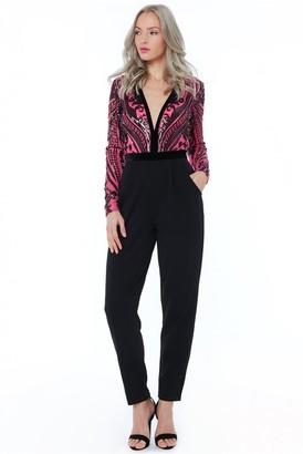 Goddiva Cerise Sequin Embroidered Jumpsuit