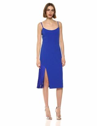 Dress the Population Women's Rory Sleeveless Stretch Midi Sheath Dress with Fringe