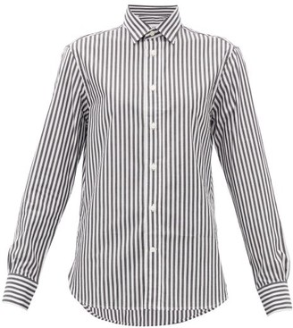 Officine Generale Gaelle Striped Cotton-poplin Shirt - Black White