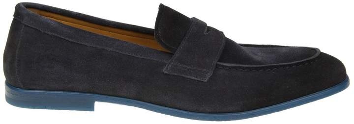 Doucal's Suede Moccasin Color Blue