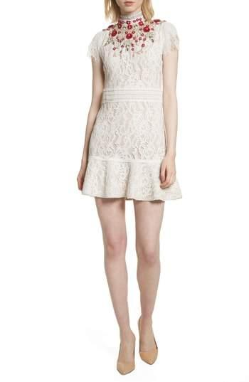 Alice + Olivia Francine Lace Fit & Flare Minidress
