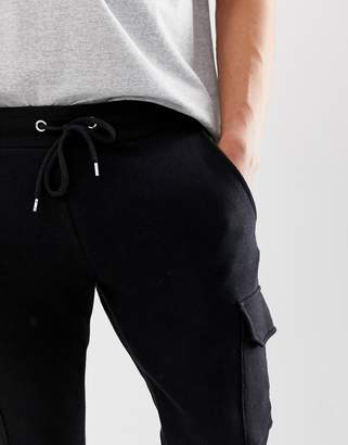 Asos Design DESIGN skinny joggers with cargo pockets in black