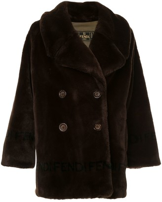 Fendi Pre Owned Faux Fur Double Breasted Coat